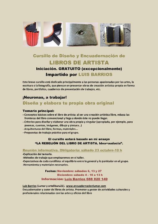Buy tickets for ARTISTA LIBURUAK, diseinu eta azaleztapen ikastaroa at Lekuona Fabrika in Errenteria